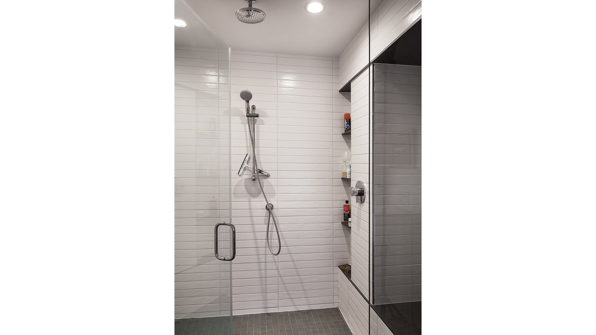 New Master Shower incorporates precise tile alignments and spacings - Broad Ripple Modern Craftsman Dwelling on Carrollton Avenue - Indianapolis, Indiana
