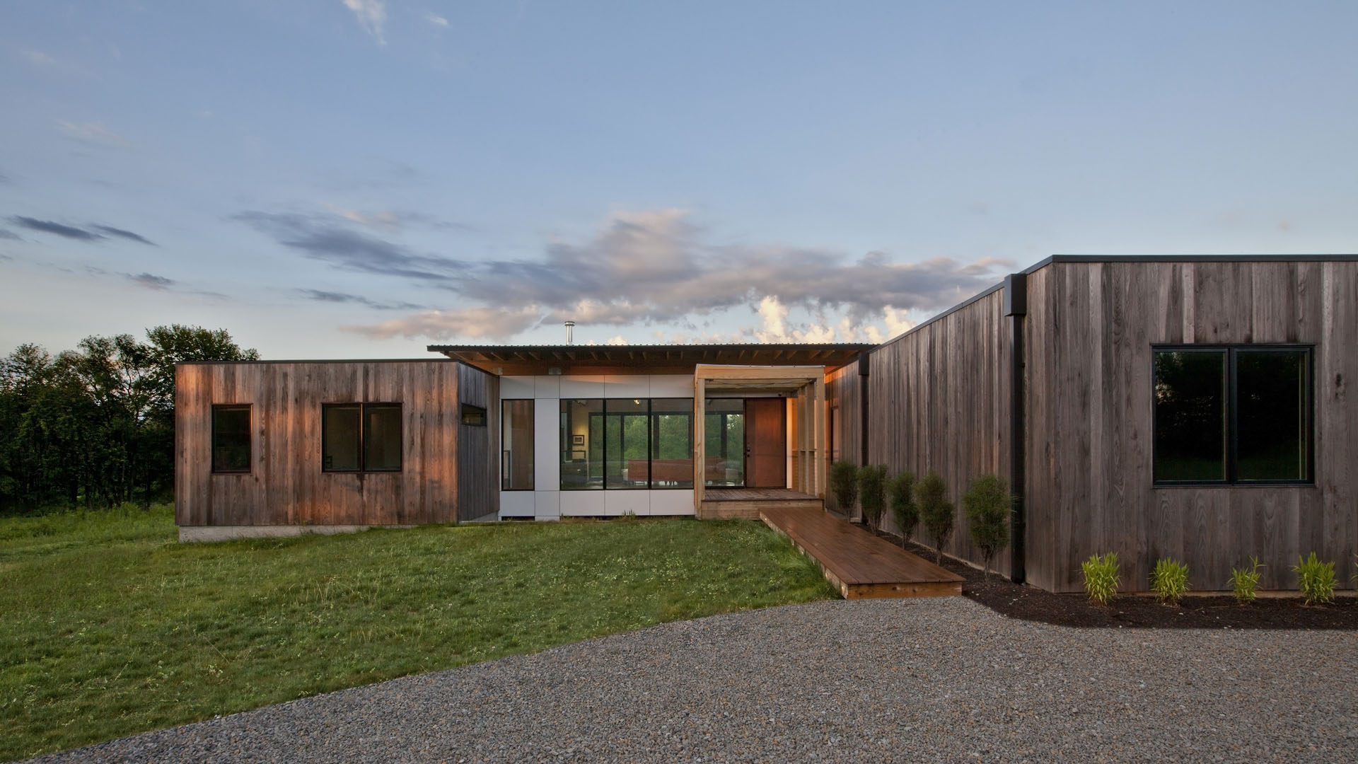 North Exterior Elevation (summer morning) - New Modern House 1 (Copperwood) - Zionsville, IN