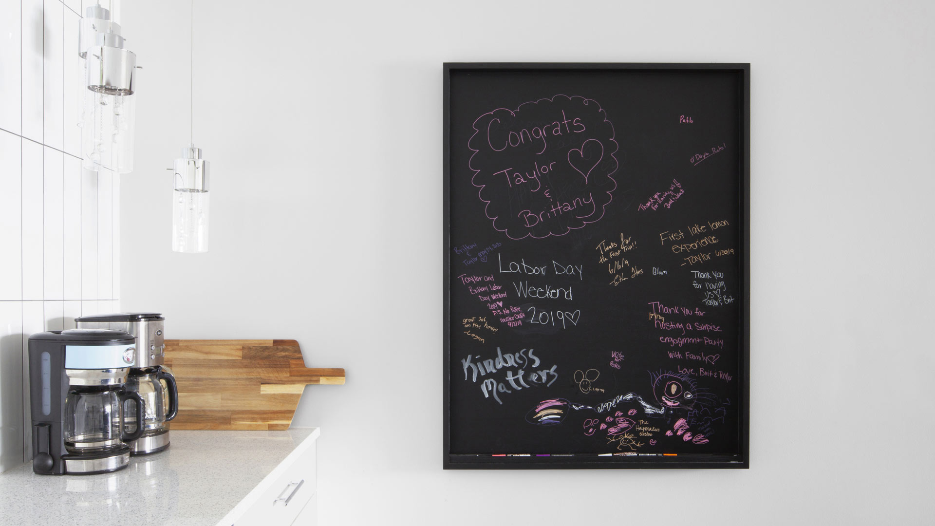 Kitchen Chalkboard + Beverage Station - Lakeside Modern Cottage (H-LODGE) - Unionville, Indiana, Lake Lemon