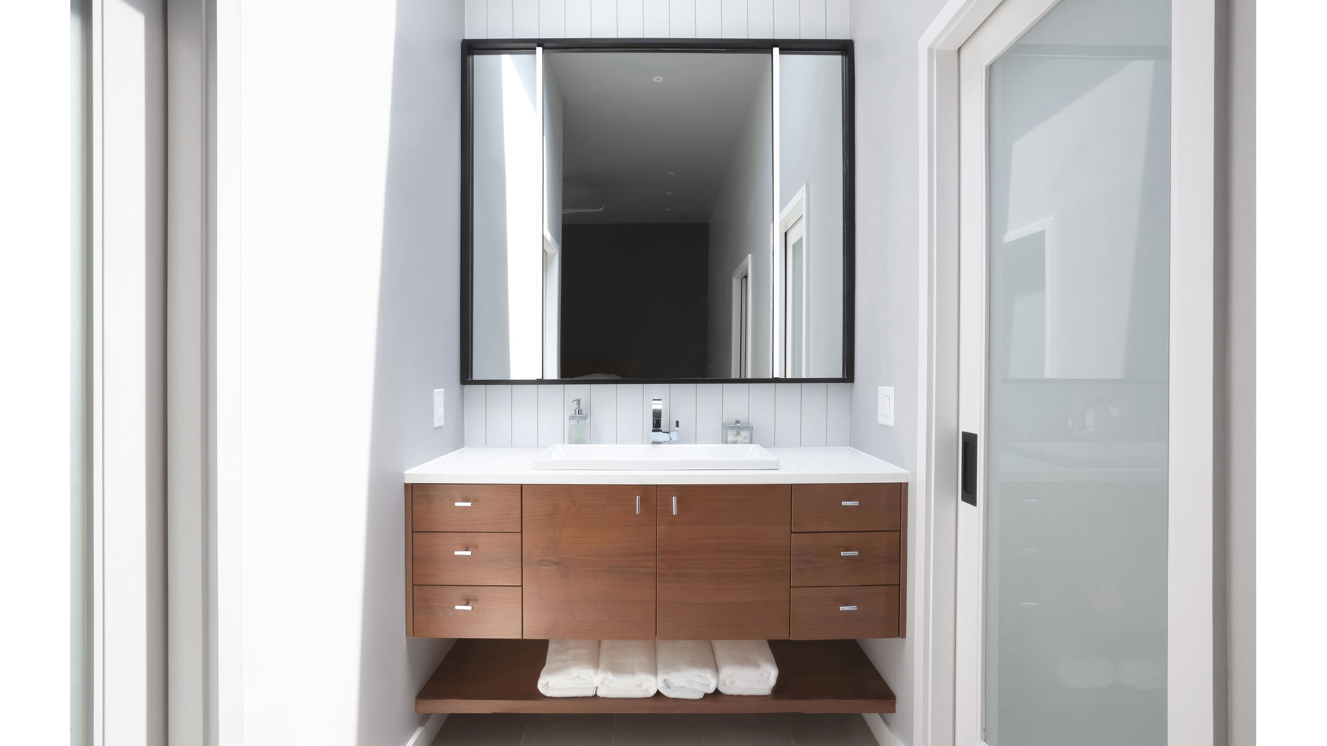 Master Vanity with Skylight and Custom Mirror - Lakeside Modern C