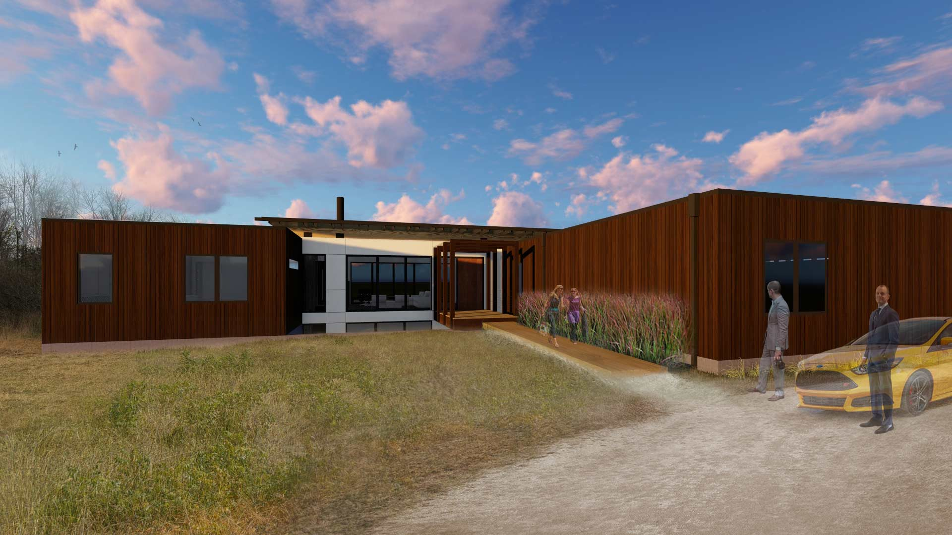 Rendering-North Exterior Elevation - New Modern House 1 (Copperwood) - Zionsville, IN