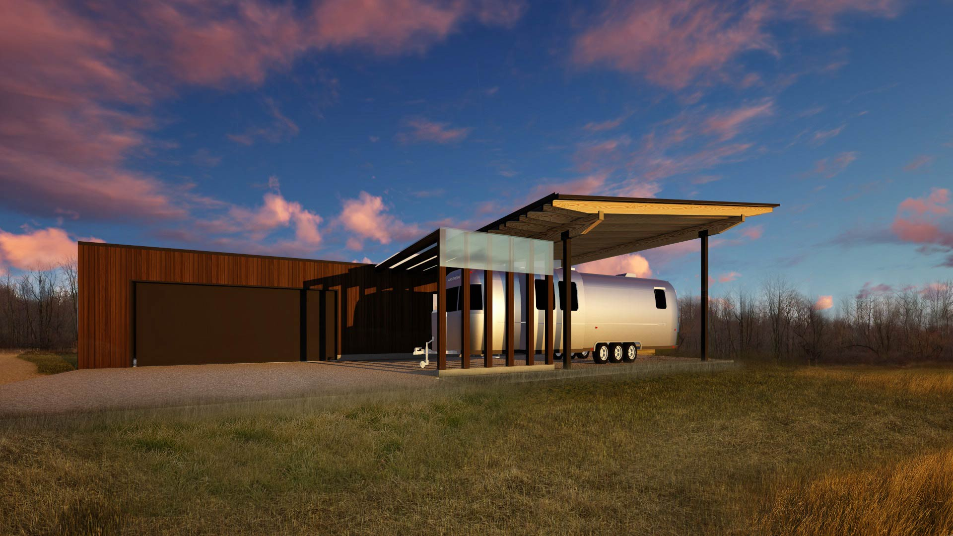 Rendering-West Exterior Elevation - Airstream Shelter - New Modern House 1 (Copperwood) - Zionsville, IN