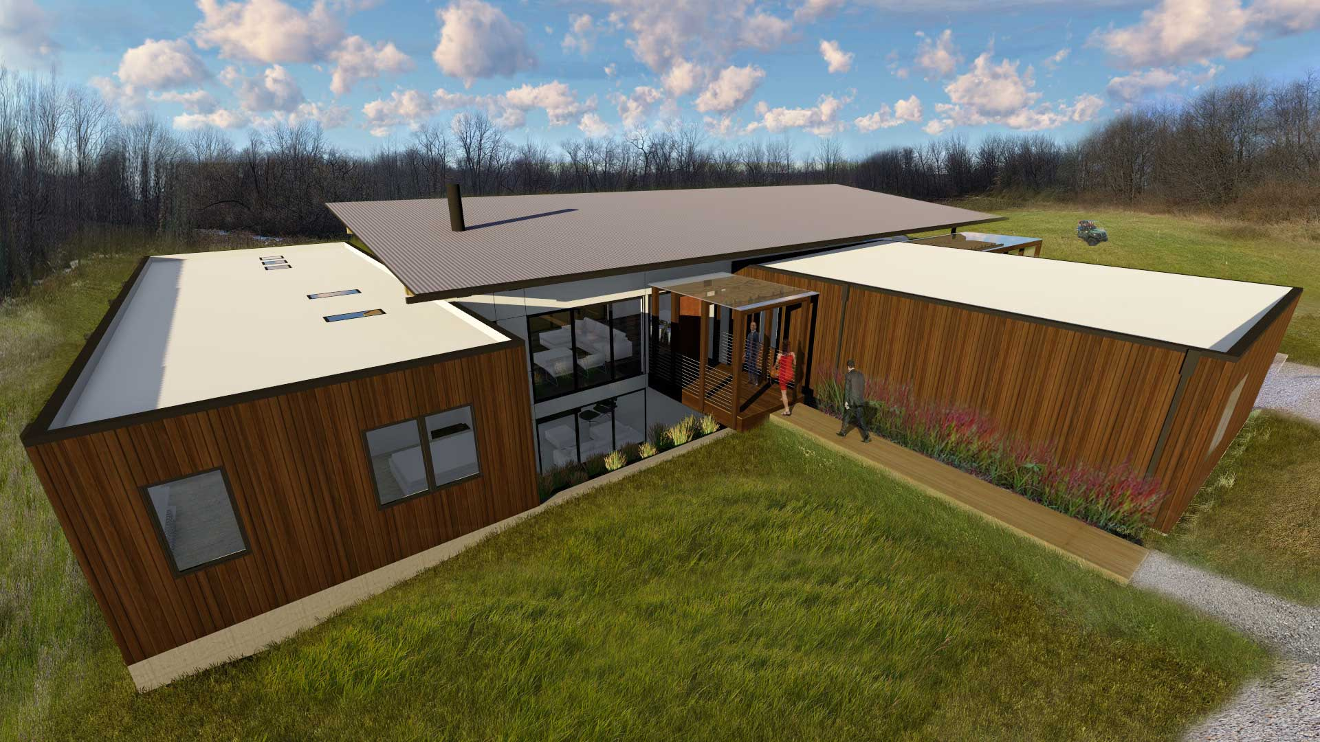 Rendering-North Exterior Bird's Eye View highlights the entry bridge and north bay window - New Modern House 1 (Copperwood) - Zionsville, IN