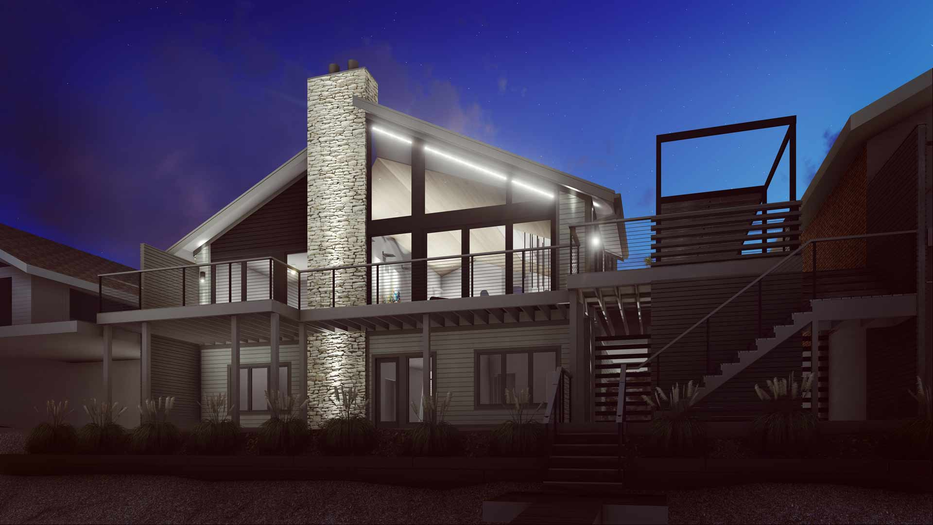 Rendering - New renovation glows on view from lakeside - Modern Lakehouse Renovation - Clearwater