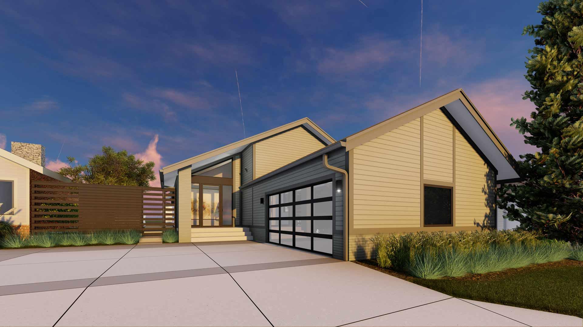 Rendering - Street View - Modern Lakehouse Renovation - Clearwater