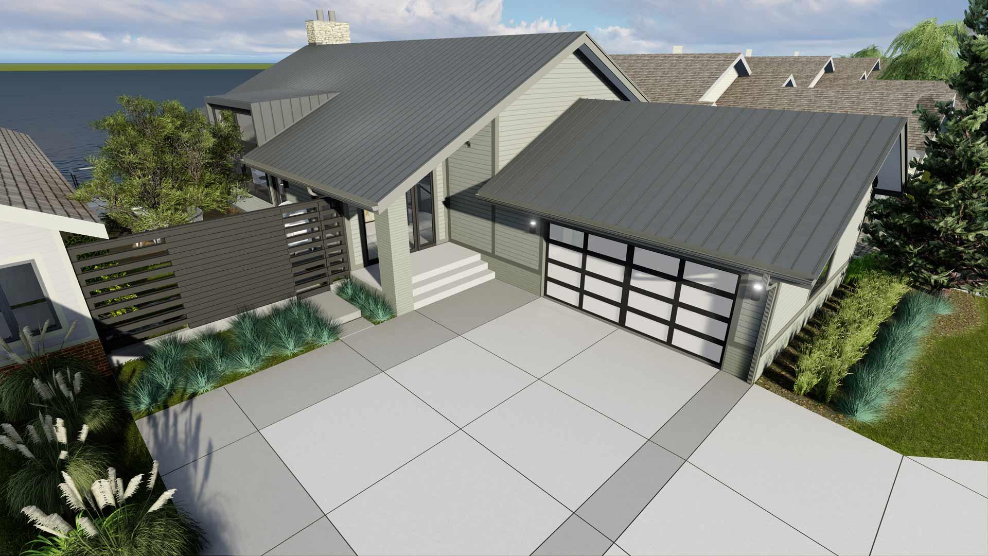Rendering - Aerial View - Modern Lakehouse Renovation - Clearwater