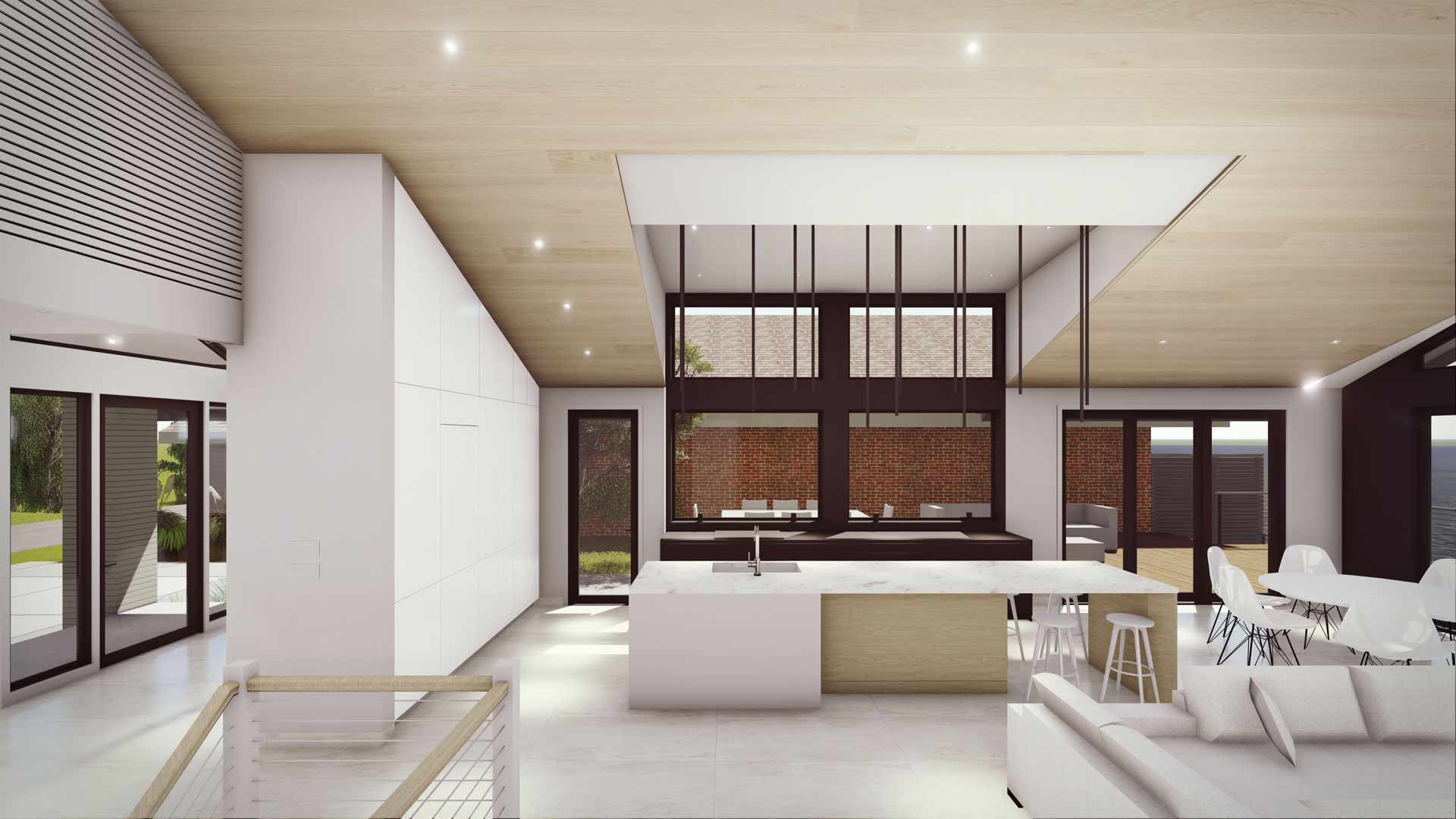 Interior Rendering of private entry, kitchen, dining, living room space overlooking lake - Modern Lakehouse Renovation - Clearwater
