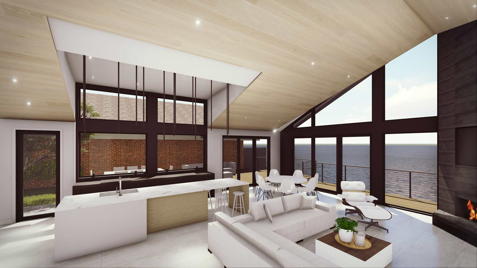 Interior Rendering of kitchen, dining, living room space overlooking lake - Modern Lakehouse Renovation - Clearwater