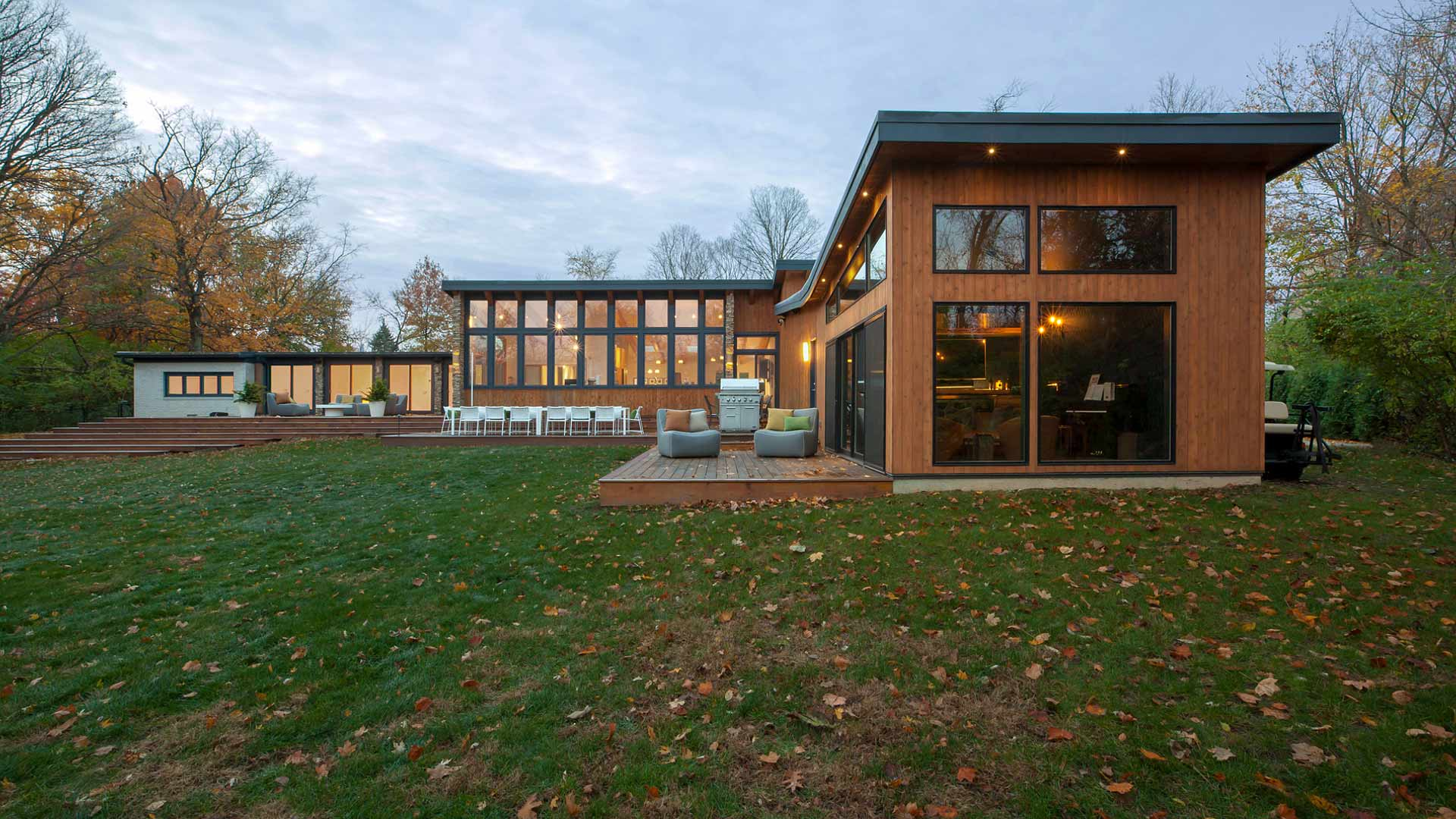 Rear Exterior Elevation - Cigar Room Addition - Shed Roofs - Cedar Siding - Midcentury Modern Addition (Cigar Room) - Brendonwood, Indianapolis