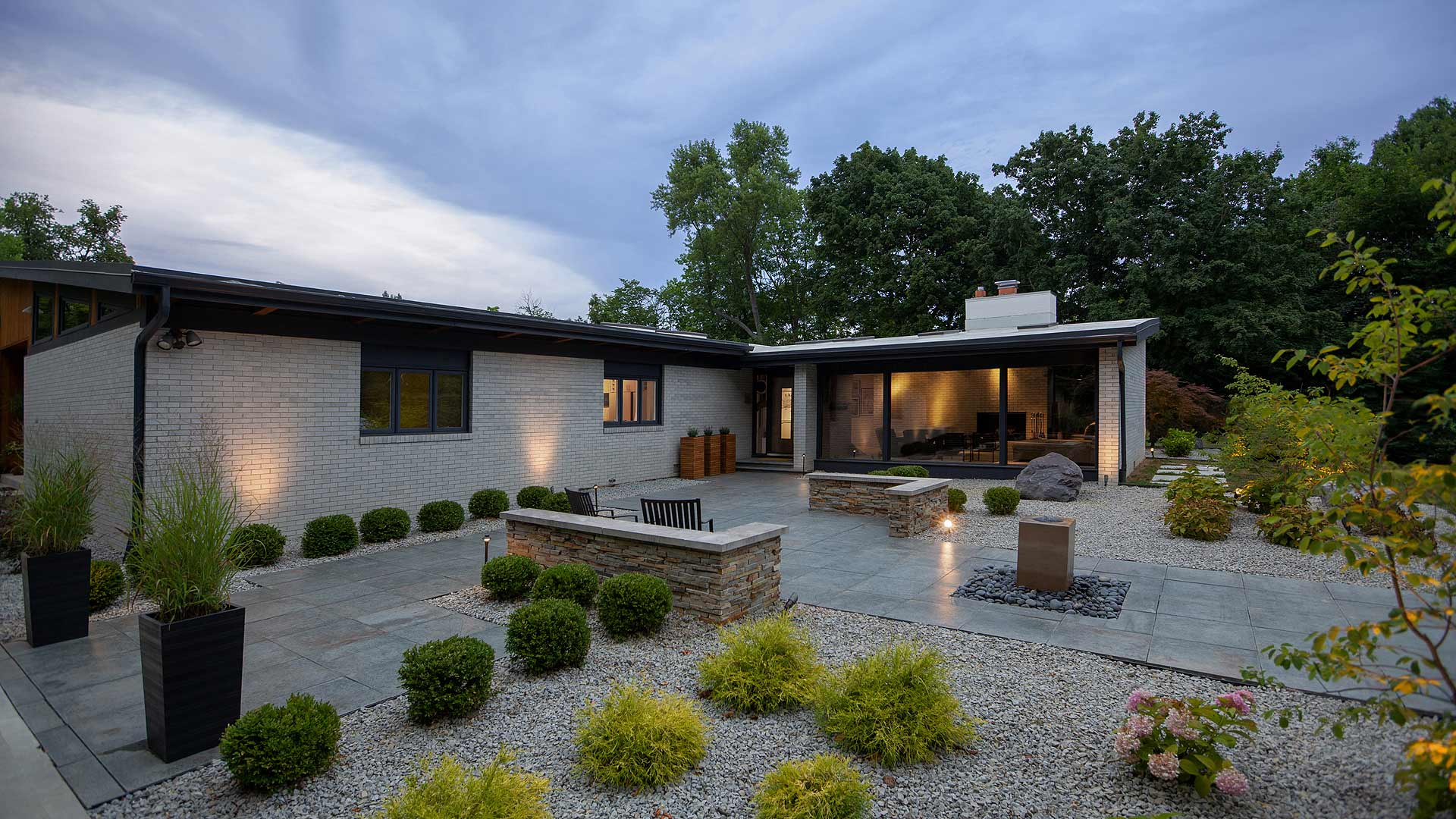 Front Entry Exterior Elevation (Original House) - Landscaped Entry Courtyard with Fountain - Floor to Ceiling Glass - Midcentury Modern Addition (Cigar Room) - Brendonwood, Indianapolis