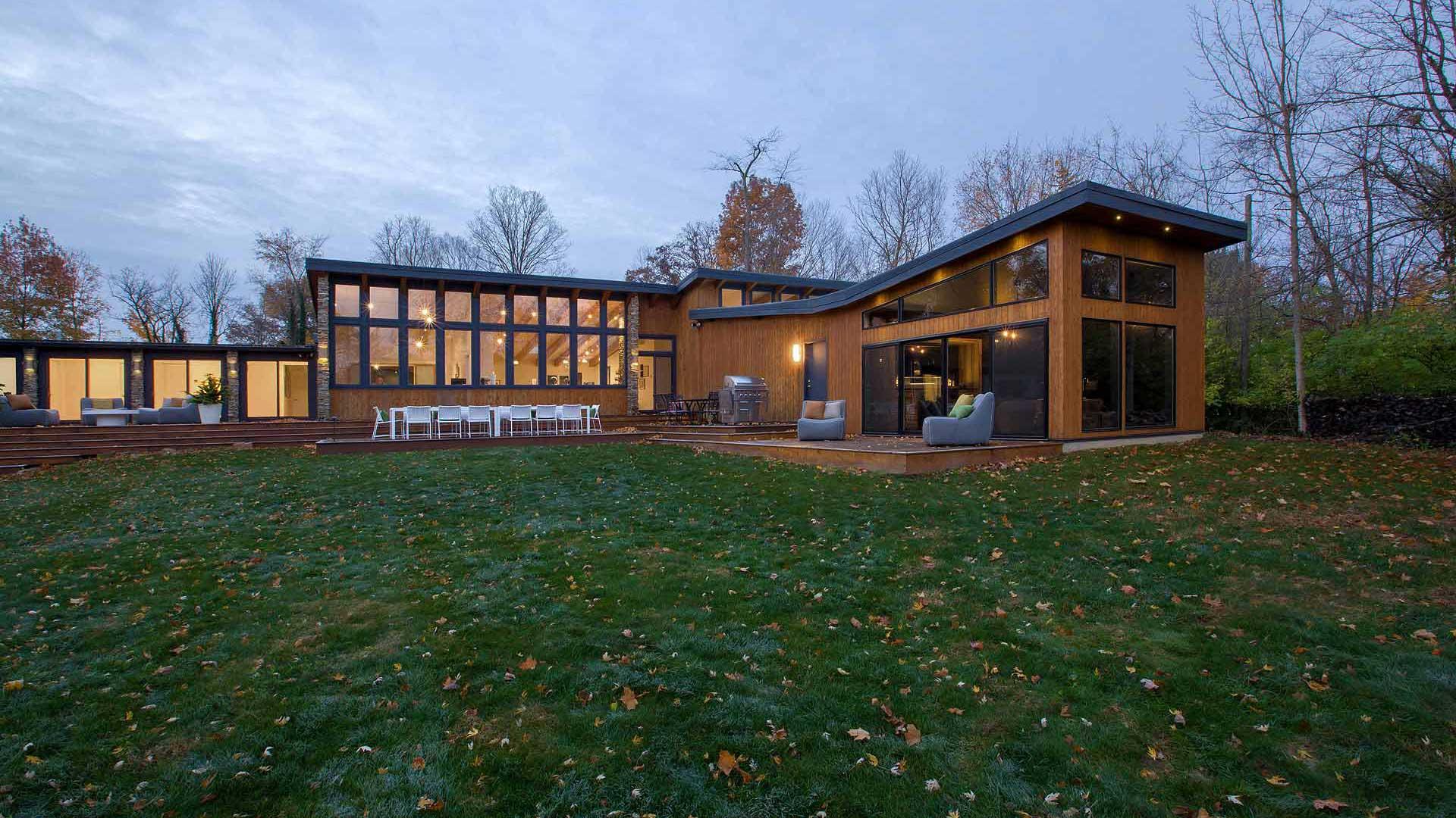 Back Exterior Elevation - Midcentury Modern Addition (Cigar Room) - Brendonwood, Indianapolis