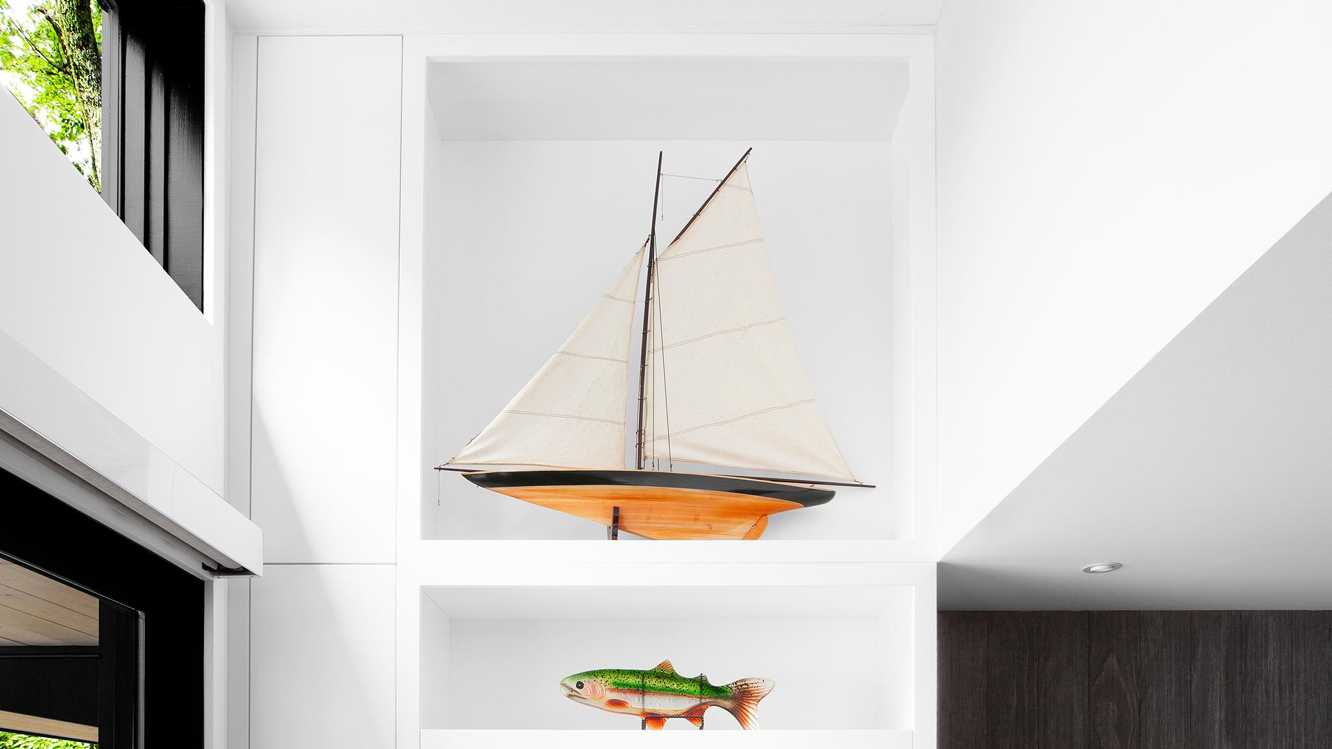 custom cabinet fills clerestory end wall area, sailboat, fish, roller blinds - Lakeside Modern Cottage (H-LODGE) - Unionville, Indiana, Lake Lemon