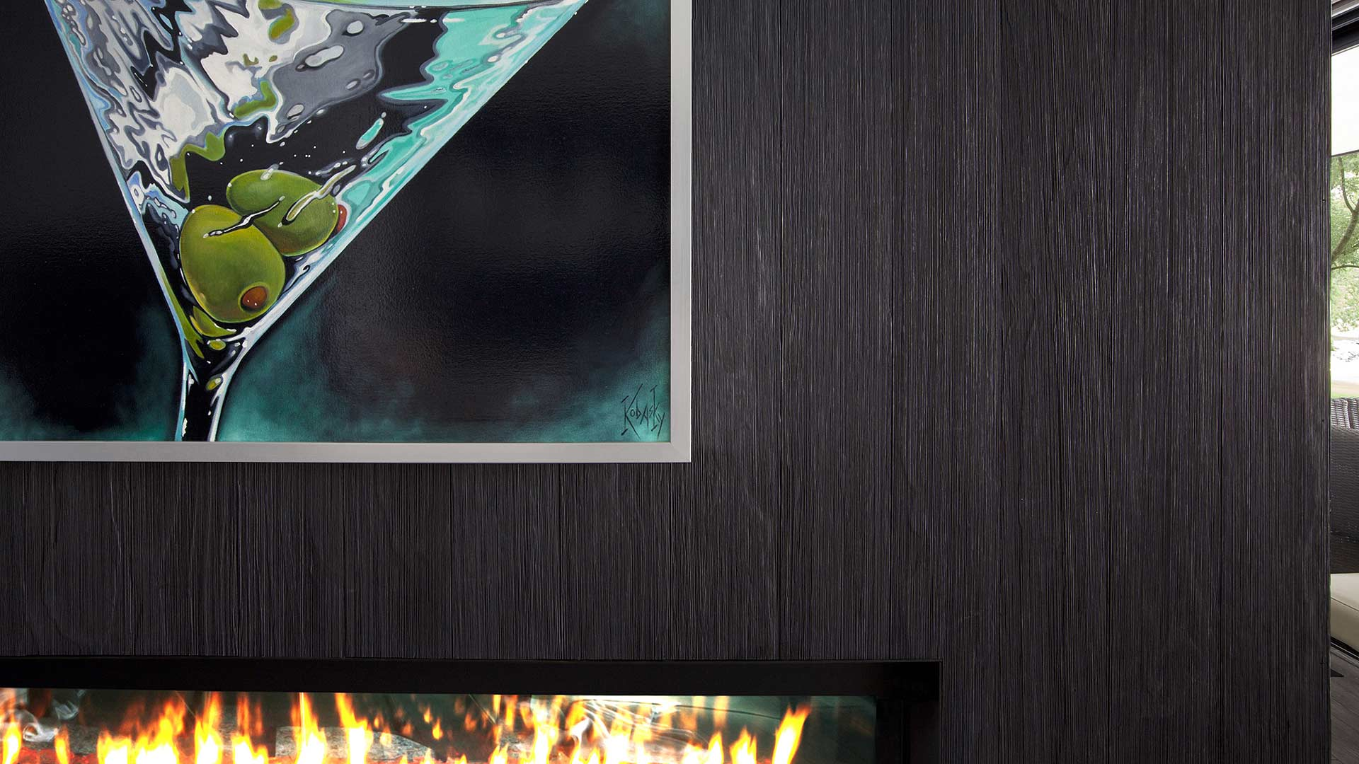 modern gas fireplace clad in shou sugi ban siding, black charred siding, martini arwork - Lakeside Modern Cottage (H-LODGE) - Unionville, Indiana, Lake Lemon