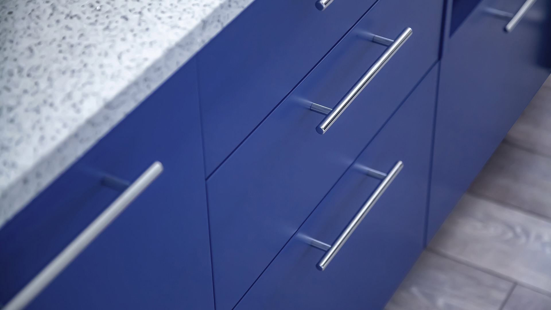blue flat panel cabinet drawers with chrome cabinet bar pull and white quartz top - Lakeside Modern Cottage (H-LODGE) - Unionville, Indiana, Lake Lemon