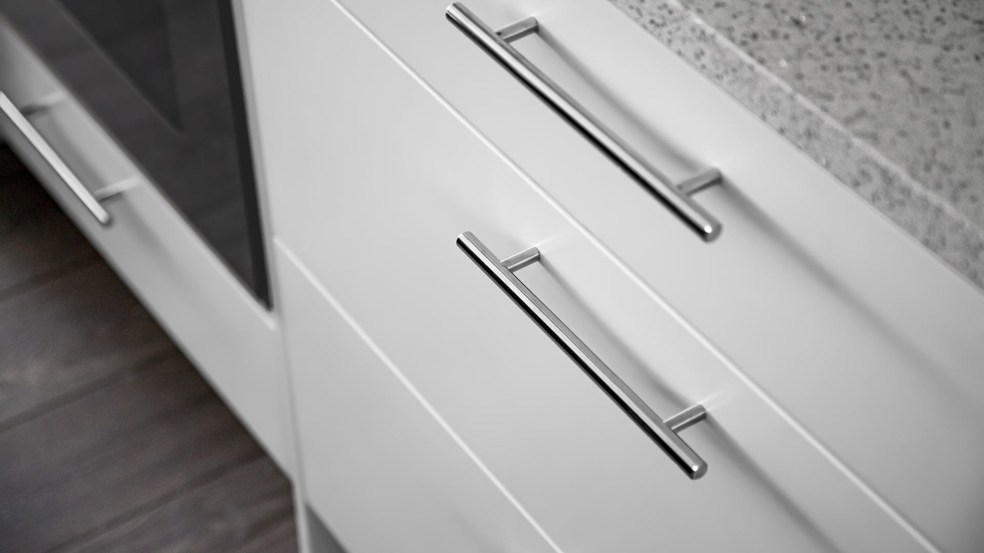 white flat panel cabinet drawers with chrome cabinet bar pull - Lakeside Modern Cottage (H-LODGE) - Unionville, Indiana, Lake Lemon