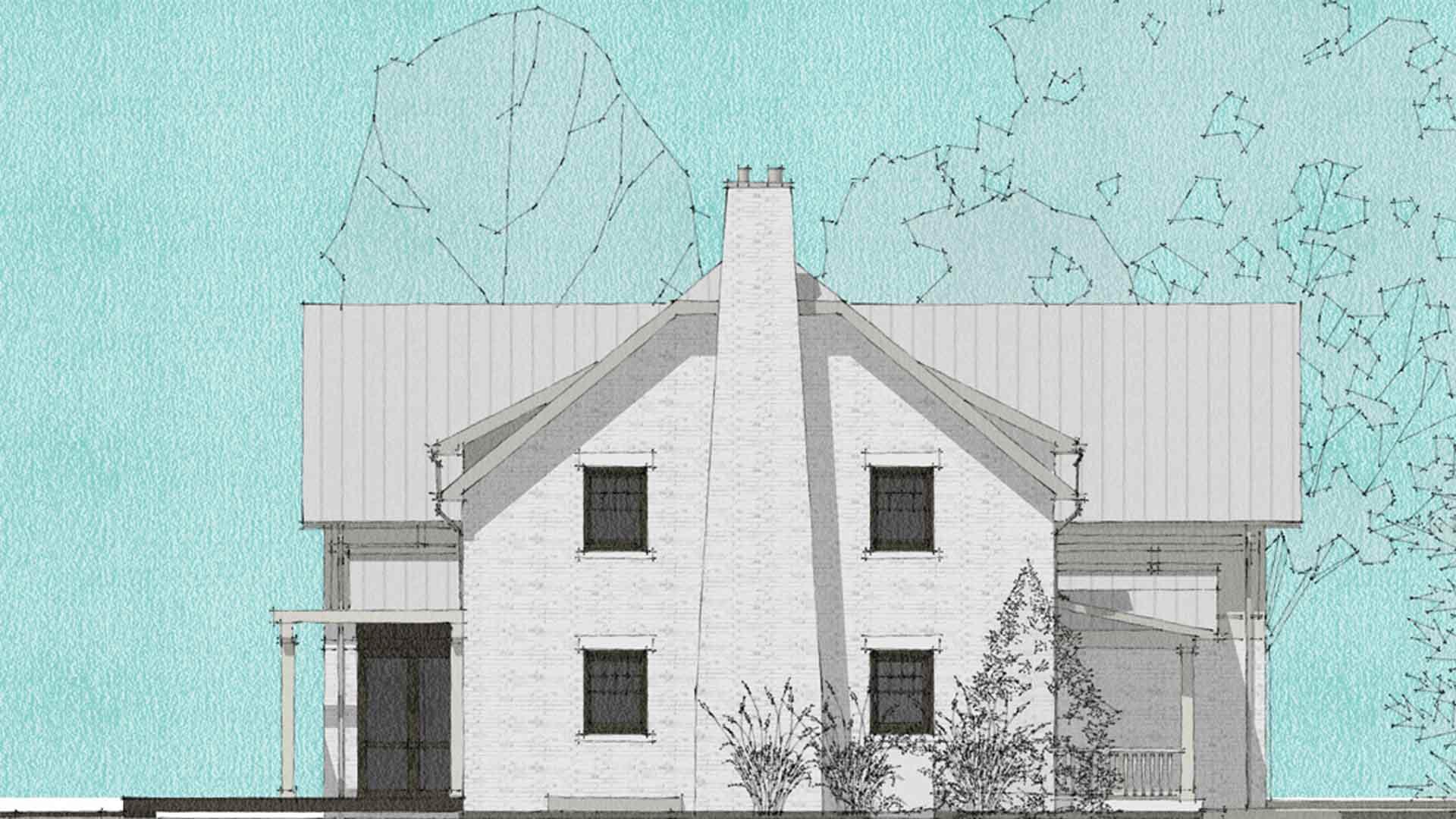 (Rendering) East Exterior Elevation Study - Butler Tarkington Modern Tudor - Indianapolis, IN