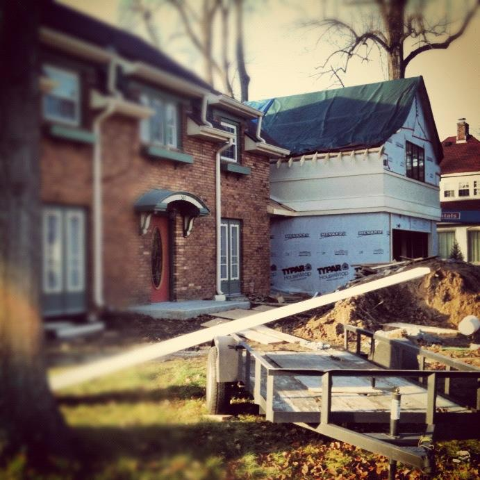 New Addition framing is underway and mostly weathered-in - Butler Tarkington Modern Tudor - Indianapolis, IN