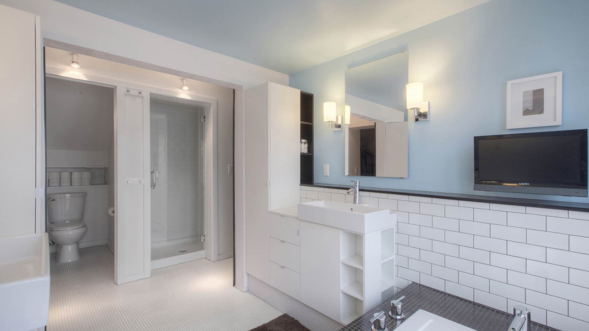 Master Bathroom includes double vanities, platform tub, bathroom closet, shower, and custom details - Classic Irvington Tudor Remodel - Indianapolis, IN