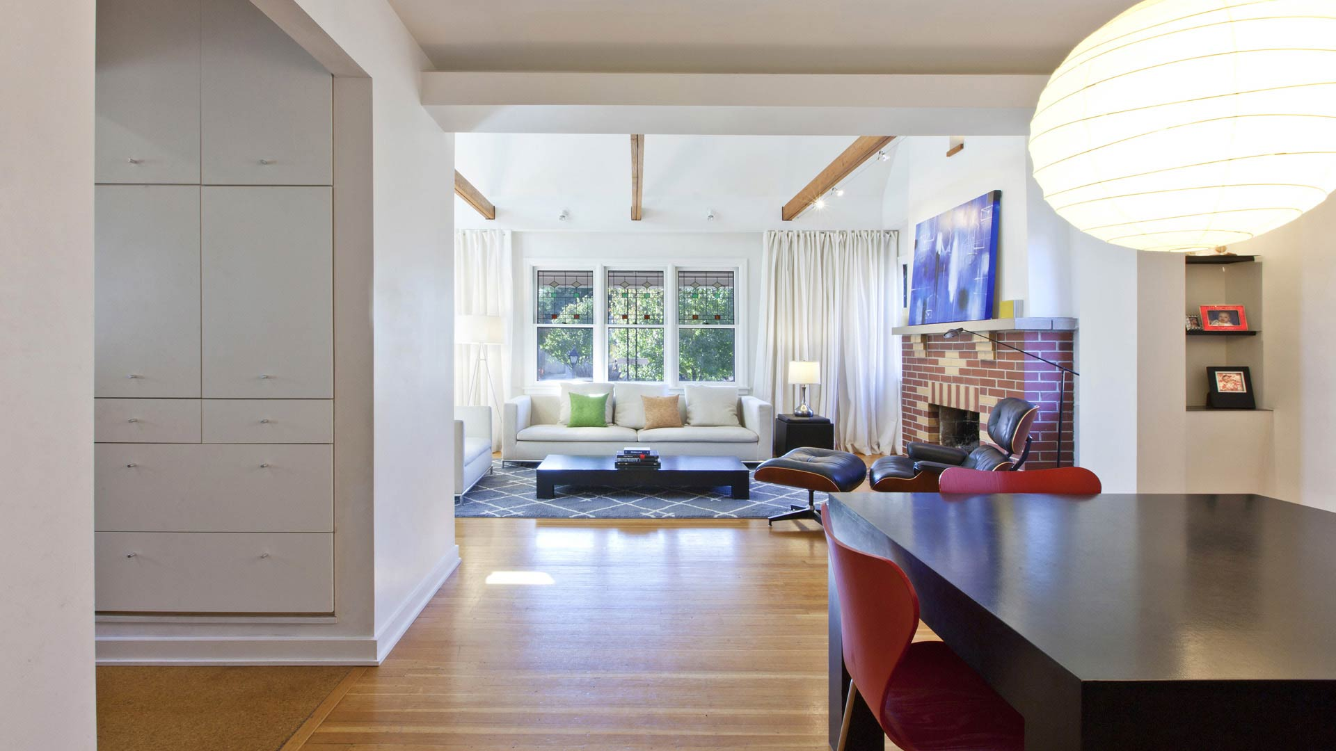 View of Dining and Living Rooms - Classic Irvington Tudor Remodel - Indianapolis, IN