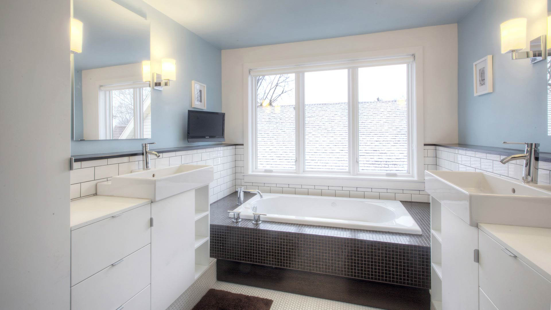 Master Bathroom includes double vanities and platform tub - Classic Irvington Tudor Remodel - Indianapolis, IN