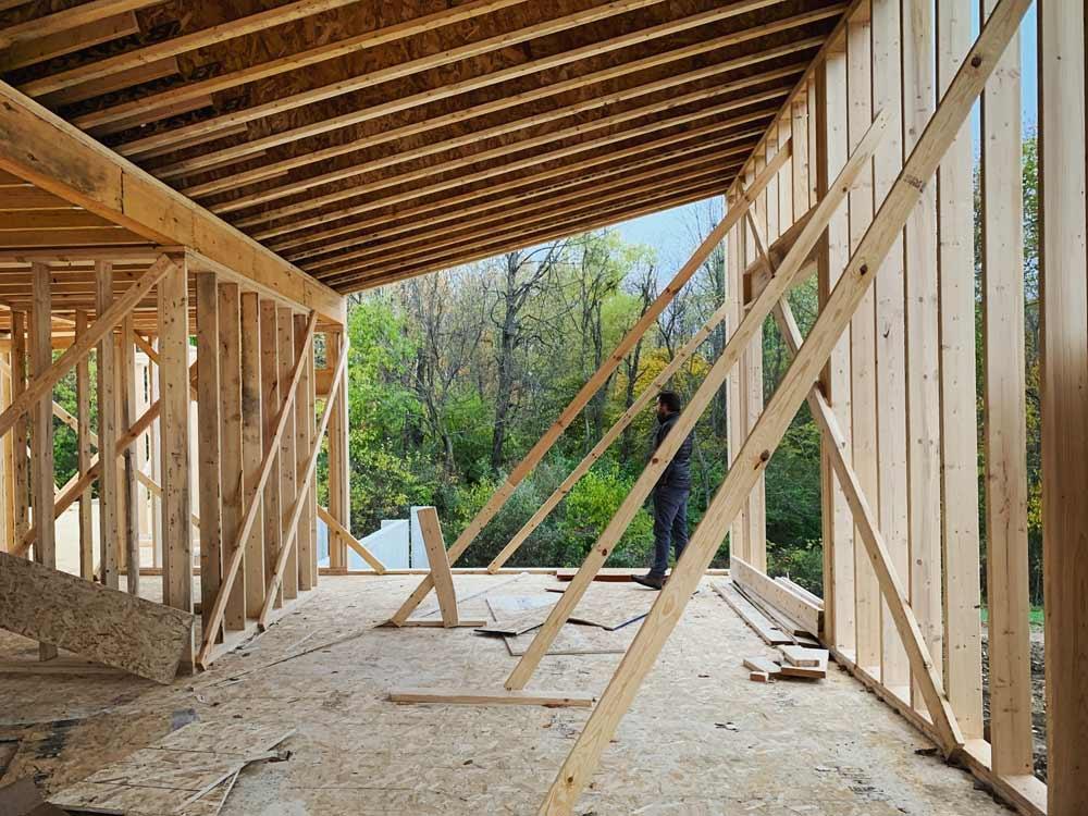 North Shed Roof Master Bedroom + Studio Framing Progress - Back40House - Pendleton, IN