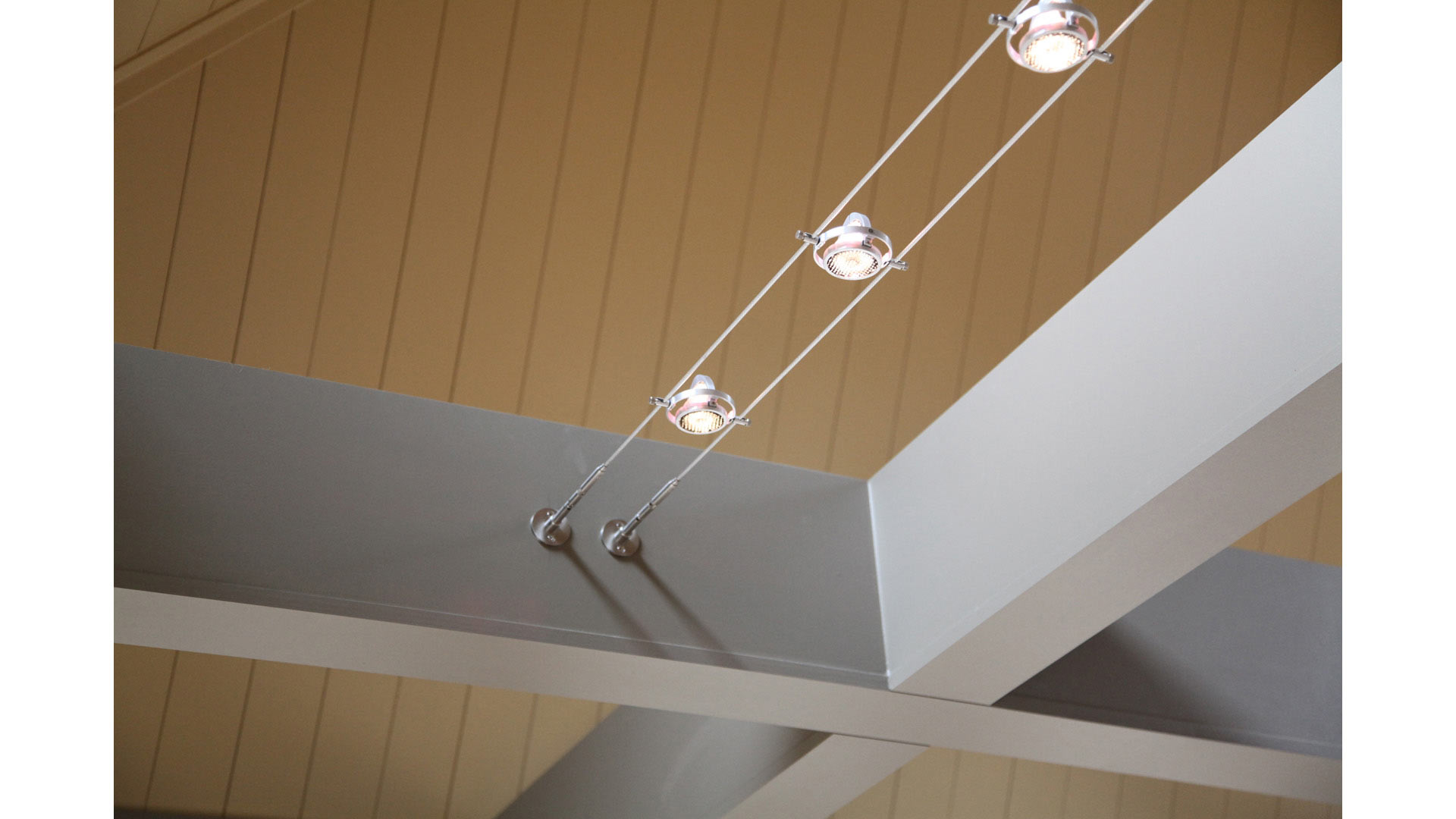 Exposed beam and cable lighting detail - Kitchen and Family Room Addition - Indianapolis, IN