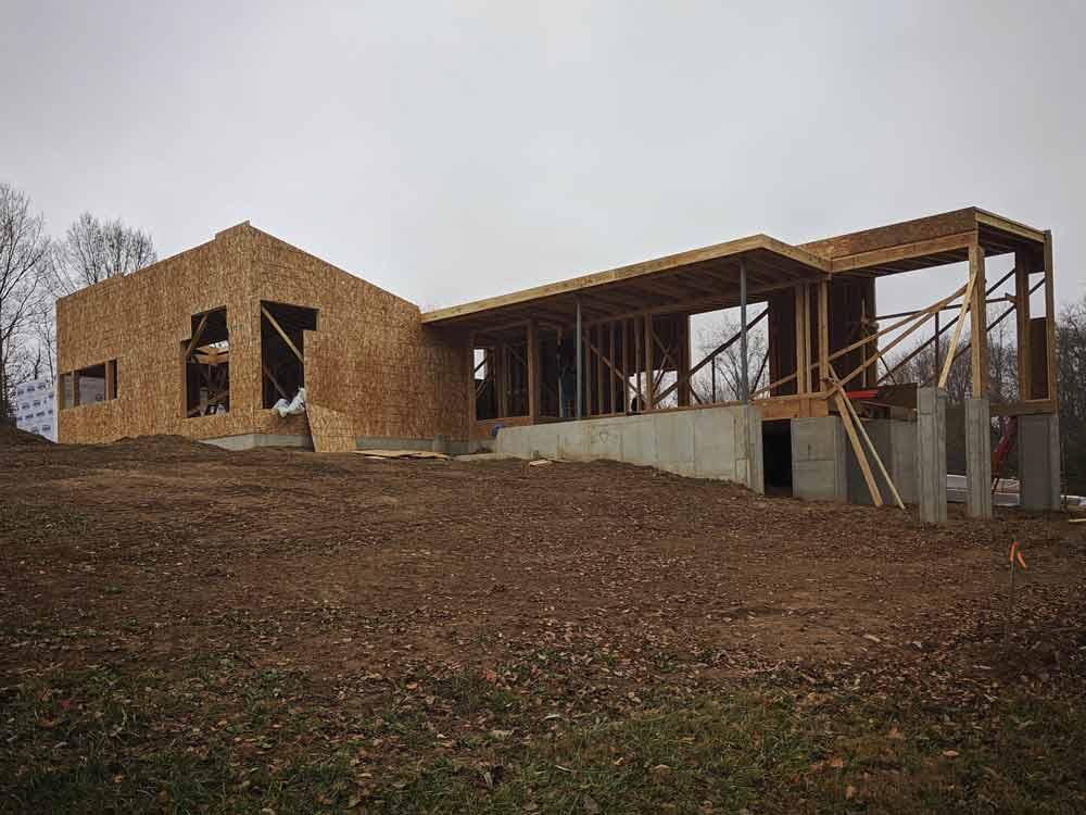 Framing Progress - View from Northwest - Back40House - Pendleton, IN