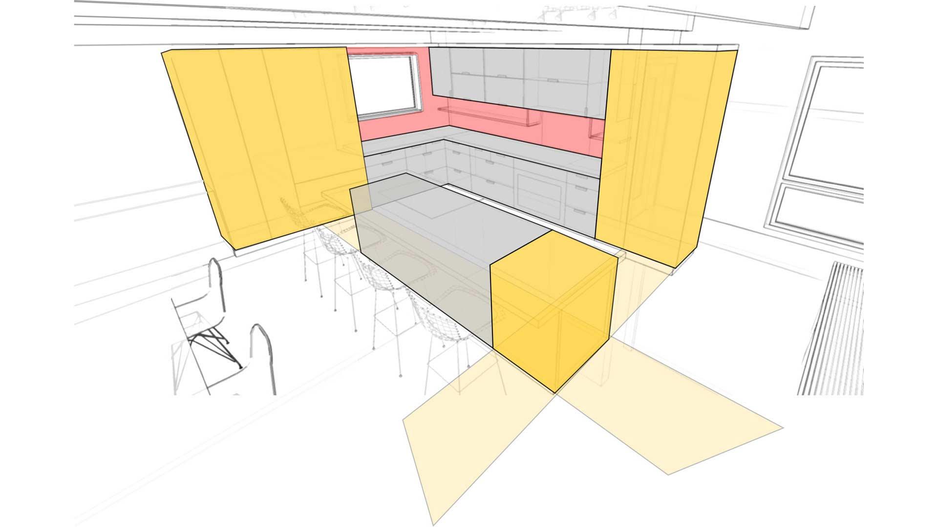 Kitchen Concept Diagram - Midcentury Modern Kitchen Renovation - Bramshaw - Devonshire Neighbhorhood - Indianapolis