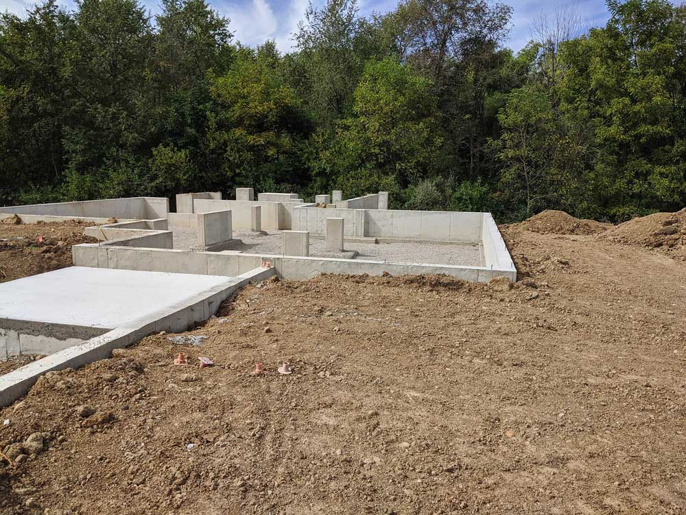 Foundations Completed View from East - Back40House - Pendleton, IN