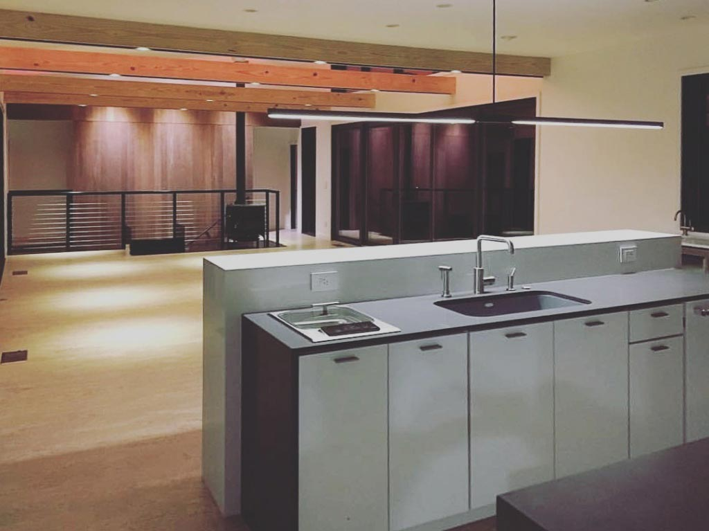 New Modern House 1 (Copperwood) - Kitchen + Living Room Detail at Night