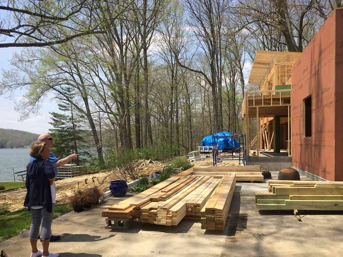 Our clients were excited to see recent progress, including the recent upper roof truss installations (spring 2018) - Lakeside Modern Cottage (H-LODGE) - Unionville, Indiana, Lake Lemon
