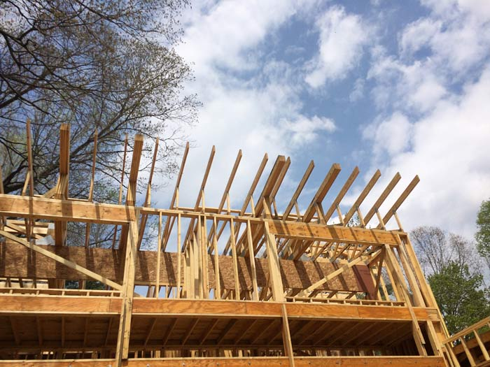 Wall and roof framing looking upward from lakeside elevation (spring 2018) - Lakeside Modern Cottage (H-LODGE) - Unionville, Indiana, Lake Lemon