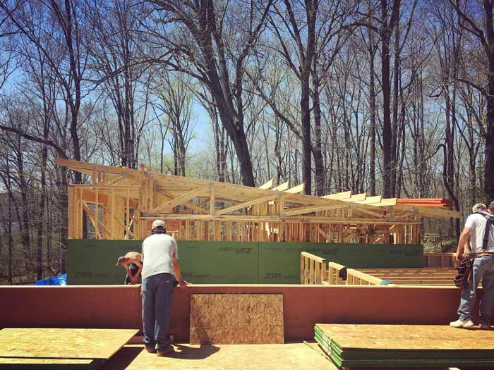 Truss and miscellaneous roof framing progressing - Lakeside Cottage (H-LODGE) - Unionville, Indiana, Lake Lemon
