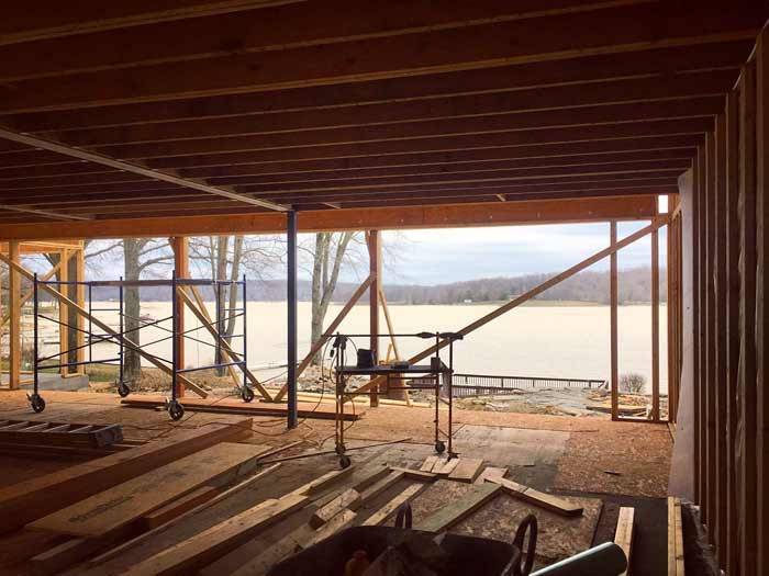View from kitchen to new panoramic lake view (winter 2017-18) - Lakeside Modern Cottage (H-LODGE) - Unionville, Indiana, Lake Lemon