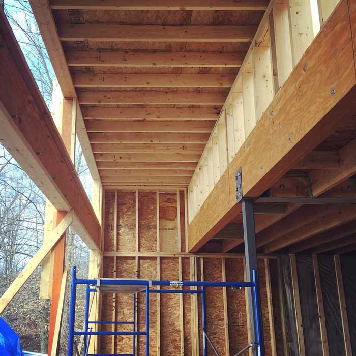 View of the south clerestory windows and raised ceiling (winter 2017-18) - Lakeside Modern Cottage (H-LODGE) - Unionville, Indiana, Lake Lemon