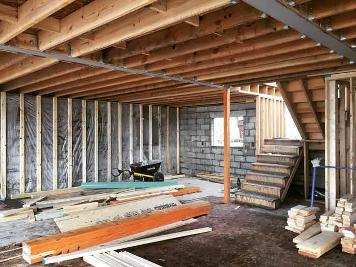 New steel beams open the interiors for more flexibility and space for unimpeded family recreation (spring 2018) - Lakeside Modern Cottage (H-LODGE) - Unionville, Indiana, Lake Lemon
