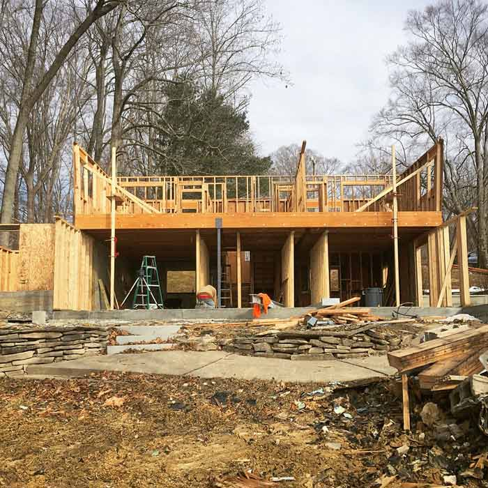 New framing progress (fall 2017) - Lakeside Modern Cottage (H-LODGE) - Unionville, Indiana, Lake Lemon