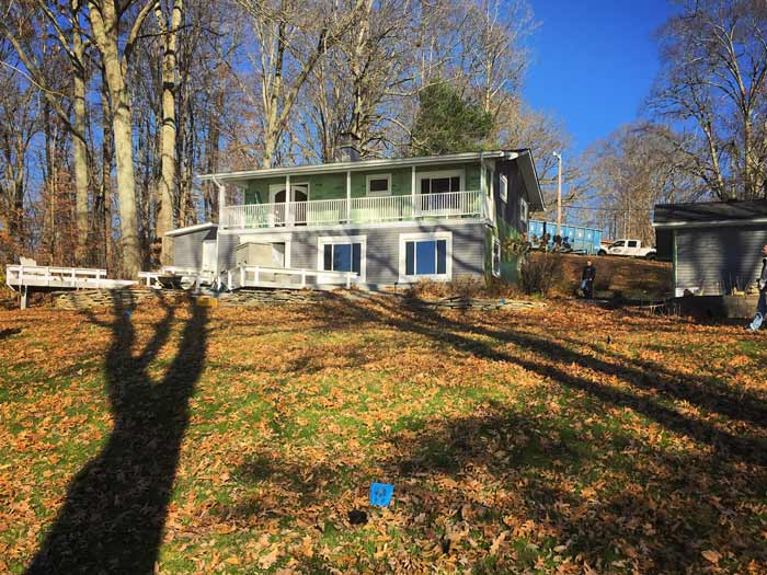 Demolition on existing property is just beginning with exterior siding removal – Lakeside Modern Lodge (fall 2017) - Lakeside Modern Cottage (H-LODGE) - Unionville, Indiana, Lake Lemon