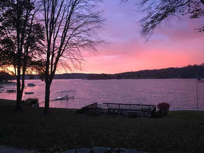 Sunrise over lake in late 2017 on an early morning at the jobsite – Lakeside Modern Lodge (spring 2018) - Lakeside Modern Cottage (H-LODGE) - Unionville, Indiana, Lake Lemon
