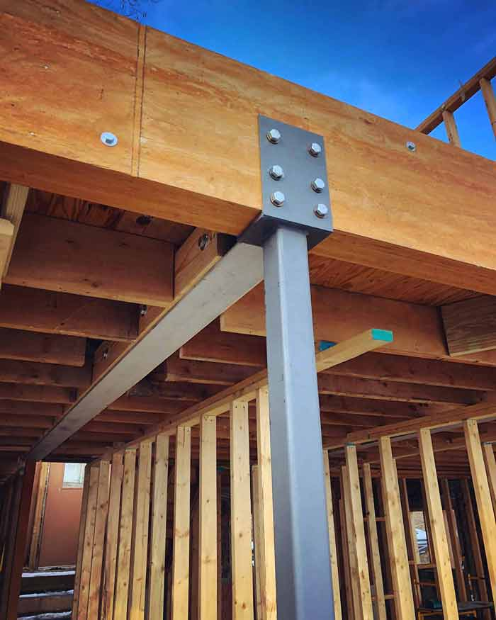 Steel beam and column do some heavy lifting to help achieve the new design concepts (winter 2017-18) - Lakeside Modern Cottage (H-LODGE) - Unionville, Indiana, Lake Lemon