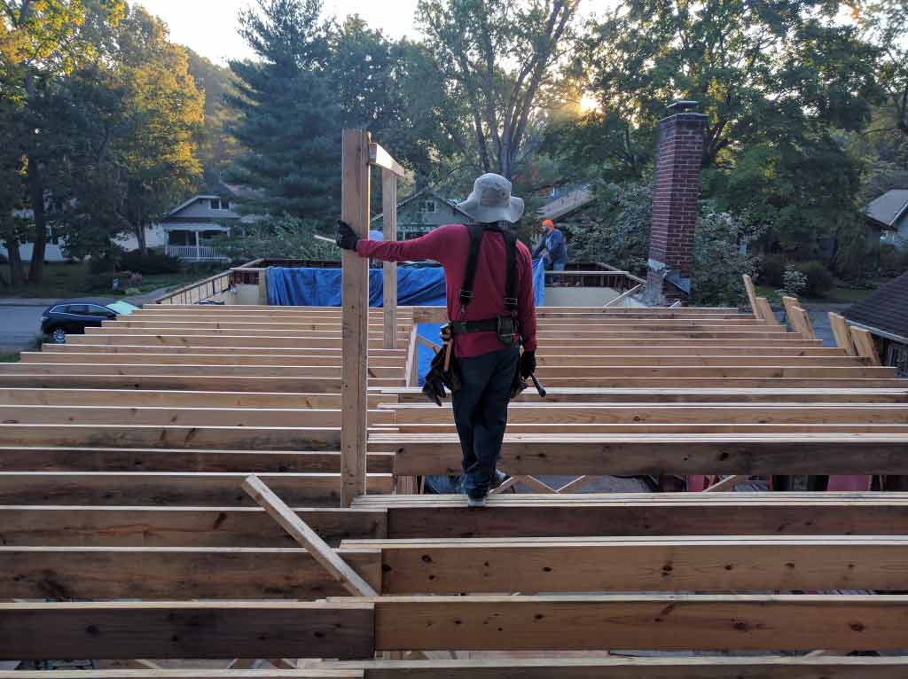 Broad Ripple Craftsman Renovation – The simple plan at the main level allowed for quick framing of the bearing wall. The second floor framing quickly followed - Modern Craftsman Renovation - Indianapolis, IN