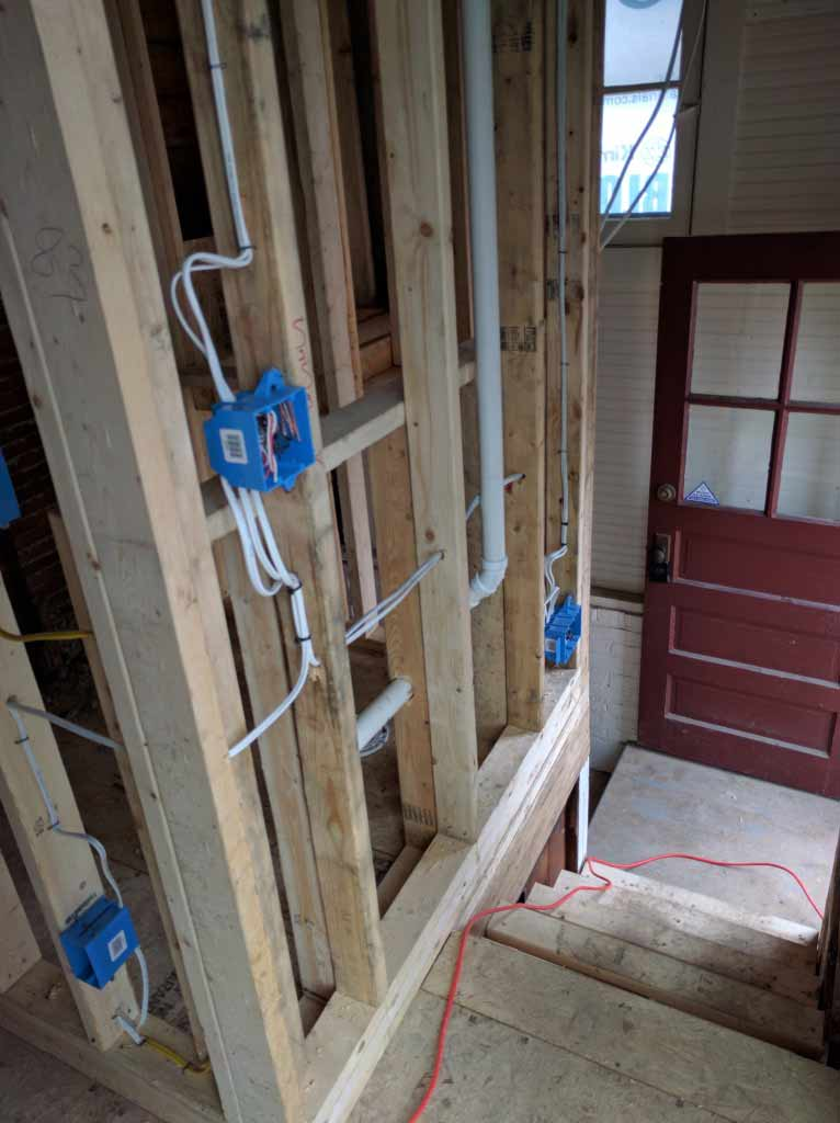 Broad Ripple Craftsman Renovation – The rough-ins are progressing. After the inspection, this will all be hidden behind drywall! - Modern Craftsman Renovation - Indianapolis, IN