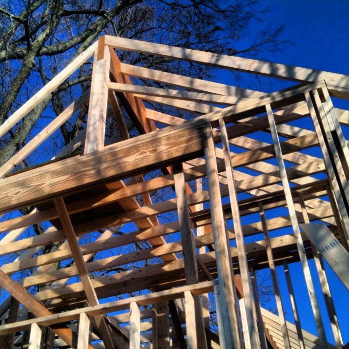 Addition framing is underway - Butler Tarkington Modern Tudor - Indianapolis, IN