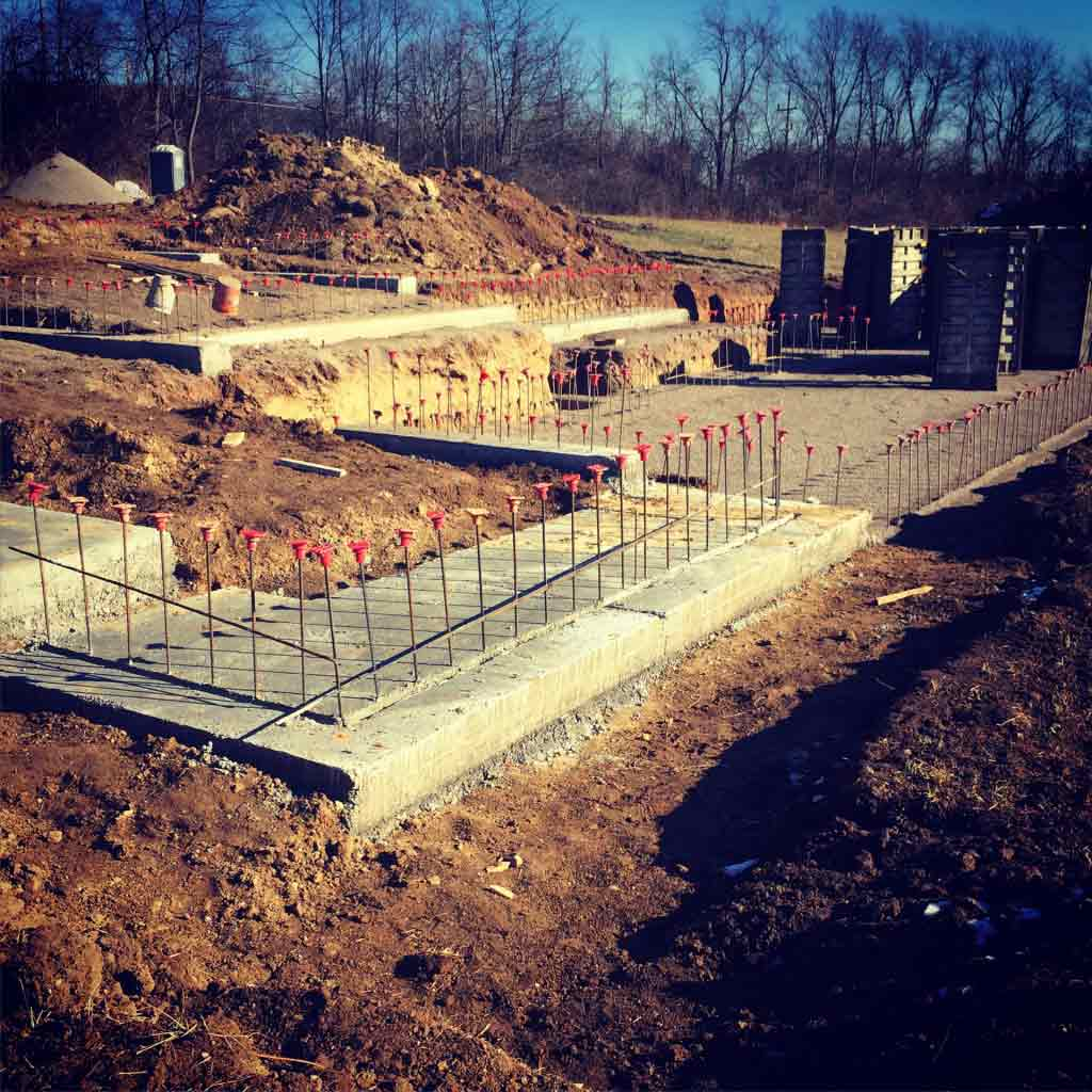 Footings Poured, Rebar Exposed - New Modern House 1 (Copperwood) - Zionsville, Indiana