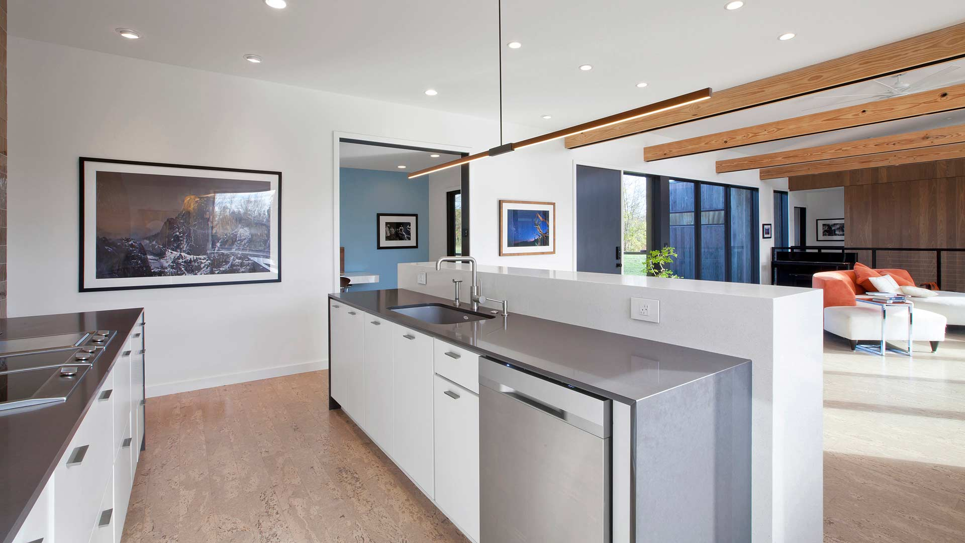 View of modern kitchen with stainless steel appliances, white slab door cabinets, and stick light - cork floor, exposed beams, vaulted ceilings, custom artwork - New Modern House 1 (Copperwood) - Zionsville, IN