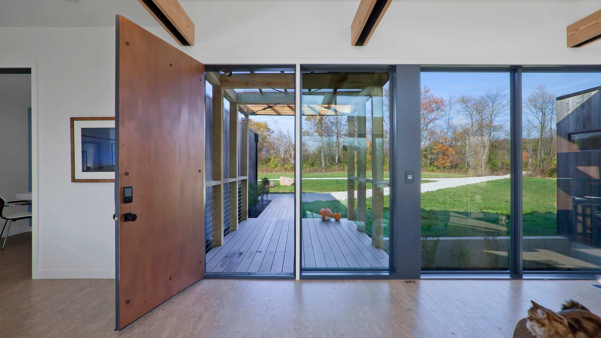 Interior View of Main Entry and Entry Bridge - New Modern House 1 (Copperwood) - Zionsville, IN