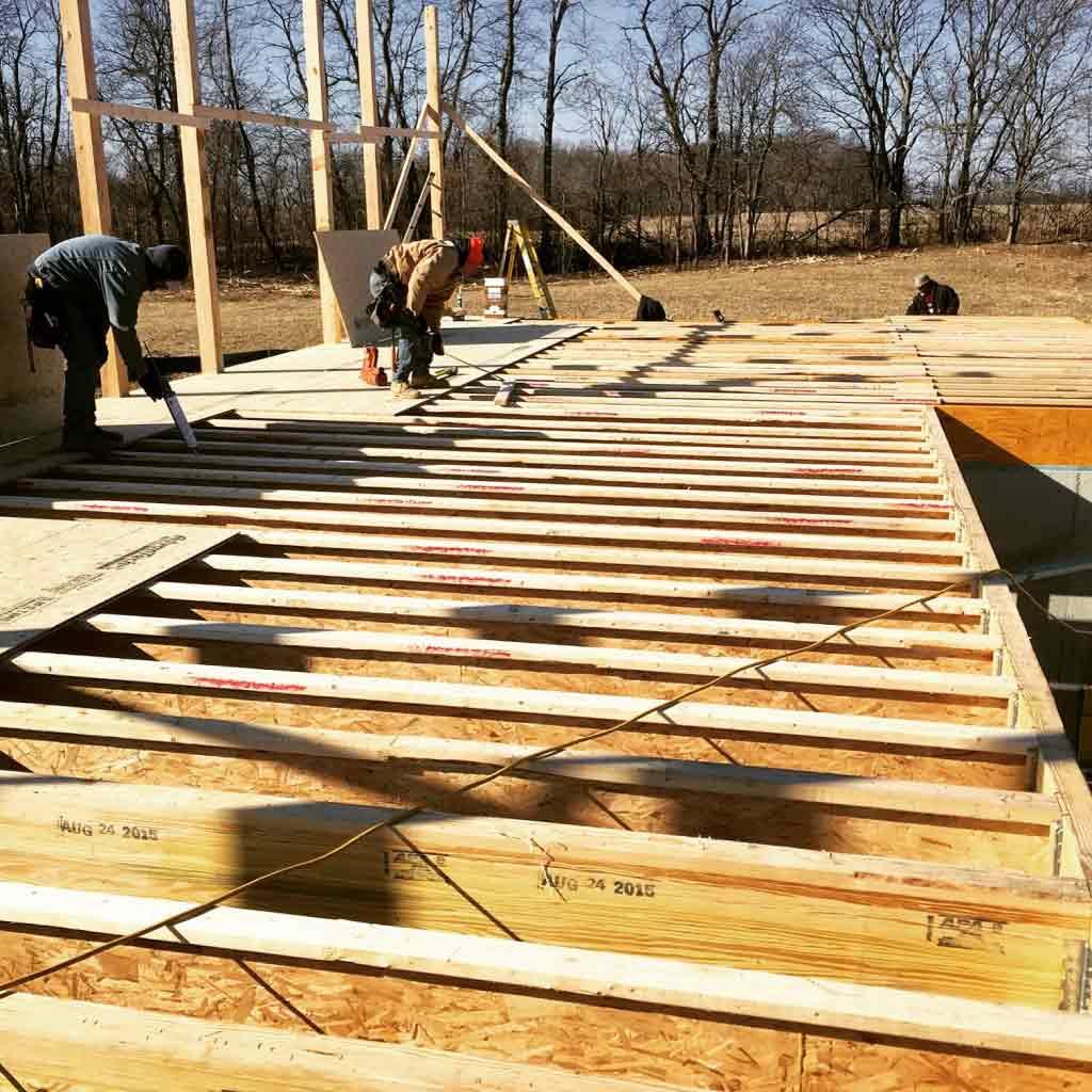 Main Deck Framing Progress - New Modern House 1 (Copperwood)