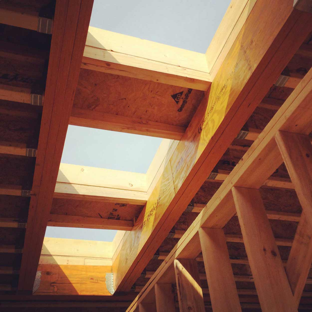 Skylights in Master Bedroom (framing) - New Modern House 1 (Copperwood)
