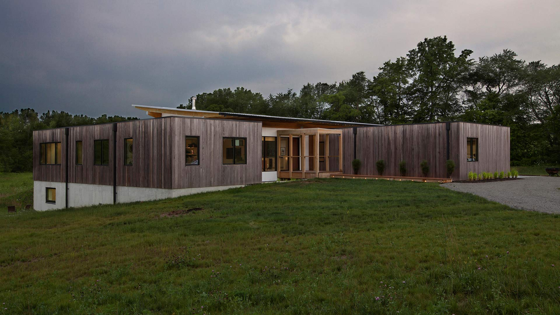 Northeast Exterior Elevation - New Modern House 1 (Copperwood) - Zionsville, IN