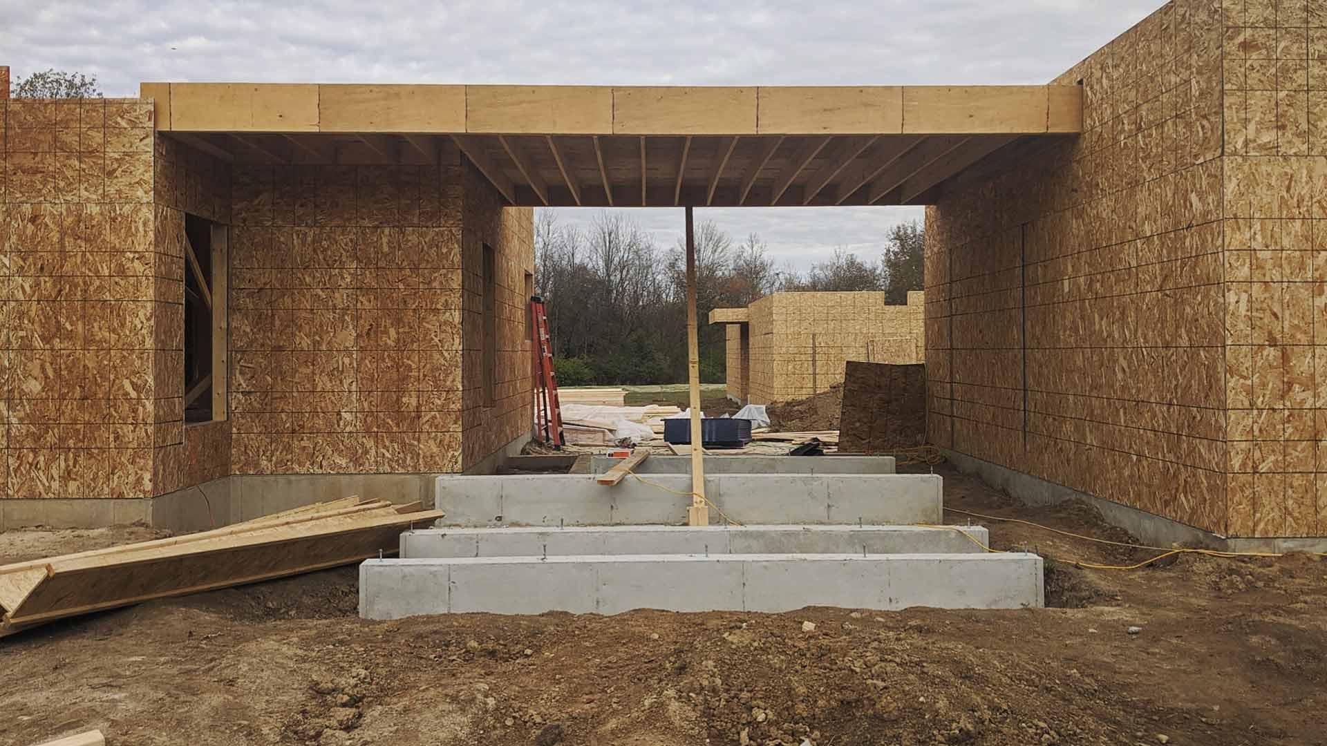 Front Entry Framing Progress - Back40House - Pendleton, IN